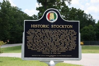 Historic Stockton / Old Schoolyard Park Marker (Front) image. Click for full size.