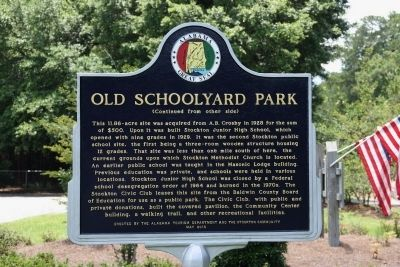 Historic Stockton / Old Schoolyard Park Marker (Reverse) image. Click for full size.