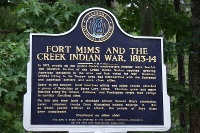 Fort Mims And The Creek Indian War, 1813-14 Marker (Front) image. Click for full size.