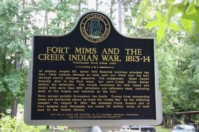 Fort Mims And The Creek Indian War, 1813-14 Marker (Reverse) image. Click for full size.