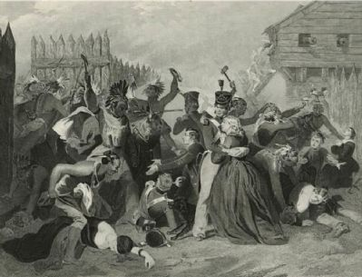 Early depiction of the battle at Fort Mims image. Click for full size.