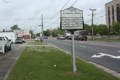 Harmony Hall Marker looking west along NC 11/55 (East King Street) image. Click for full size.