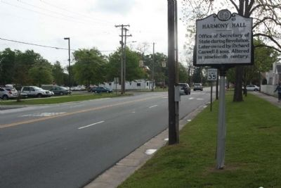 Harmony Hall Marker looking eastward image. Click for full size.