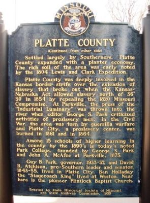 Platte County Marker (back) image. Click for full size.