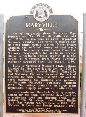 Maryville Marker (front) image. Click for full size.