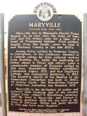 Maryville Marker (back) image. Click for full size.