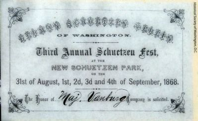 Invitation from the German Schuetzen Verein of Washington image. Click for full size.