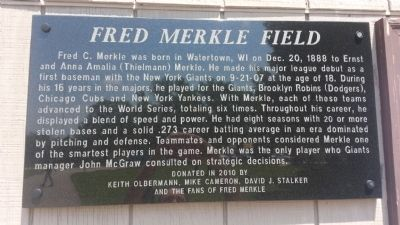 Fred Merkle Field Marker image. Click for full size.