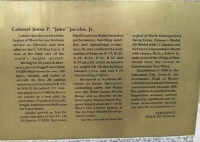 "Colonel Jesse P. ""Jake"" Jacobs, Jr., USAF Marker image. Click for full size."