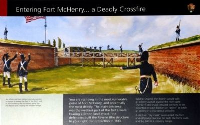 Entering Fort McHenry ... A Deadly Crossfire Marker image. Click for full size.