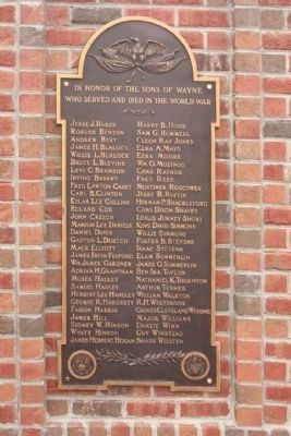 Wayne County Veterans Memorial plaque 1 , World War I image. Click for full size.