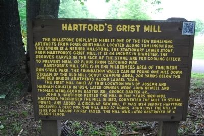 Hartford's Grist Mill Marker image. Click for full size.