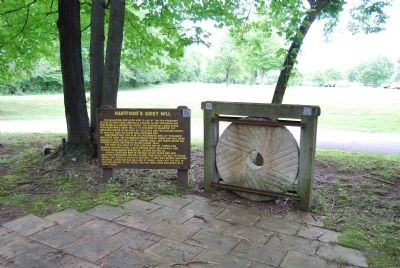 Hartford's Grist Mill Marker and Stone image. Click for full size.