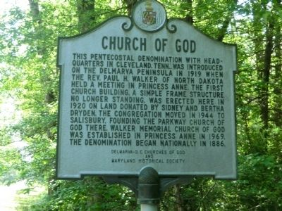 Church of God Marker image. Click for full size.