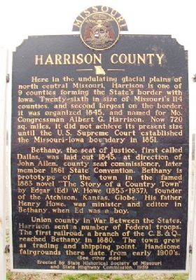 Harrison County Marker (front) image. Click for full size.