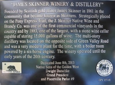 James Skinner Winery & Distillery Marker image. Click for full size.