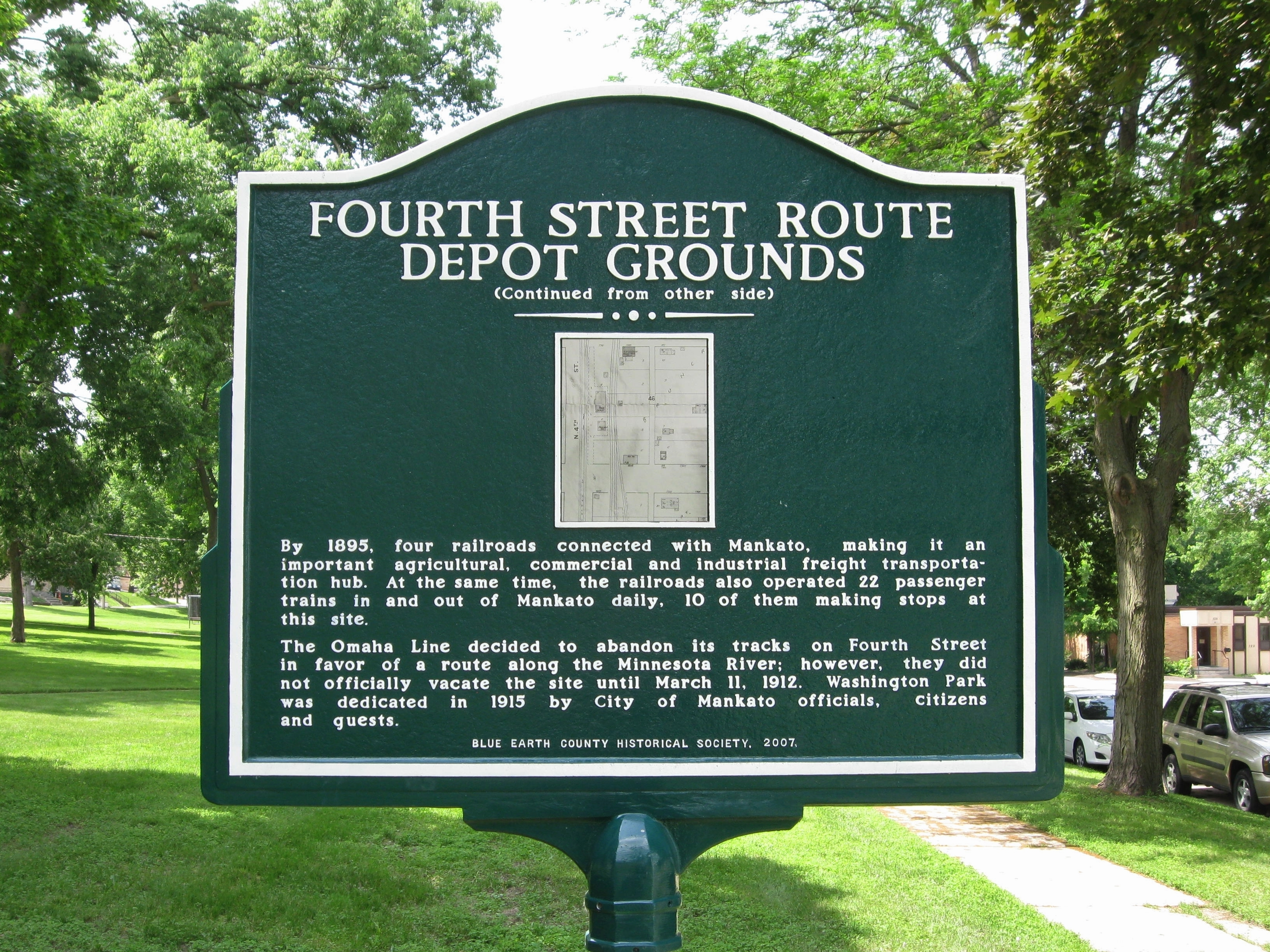 Fourth Street Route Depot Grounds Marker