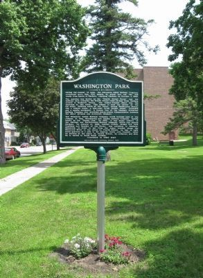 Washington Park / Fourth Street Route Depot Grounds Marker image. Click for full size.
