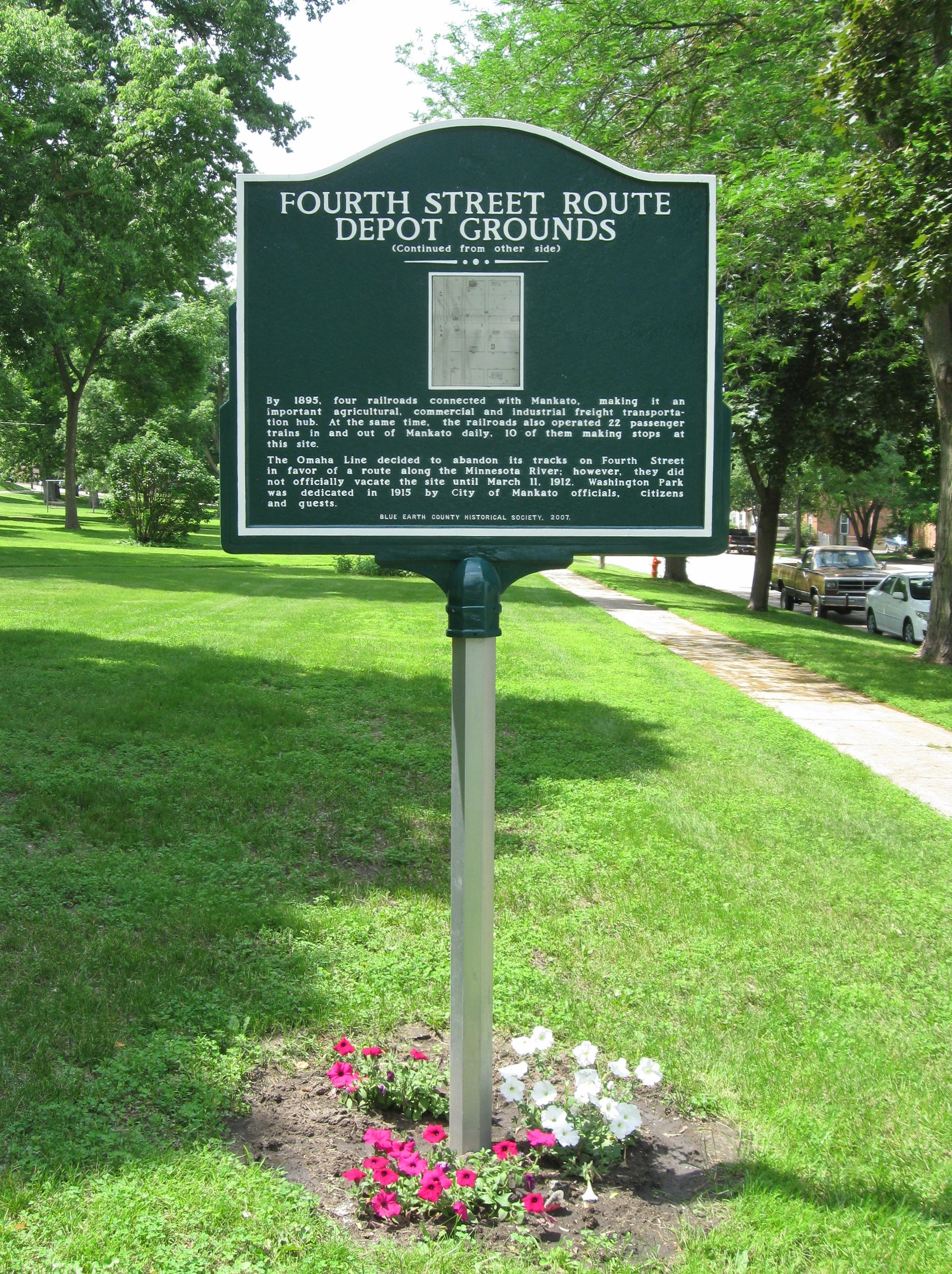 Washington Park / Fourth Street Route Depot Grounds Marker