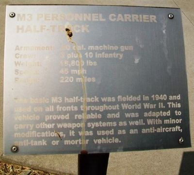 M3 Personnel Carrier Half-Track Marker image. Click for full size.