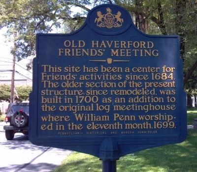 Old Haverford Friends Meeting Marker image. Click for full size.