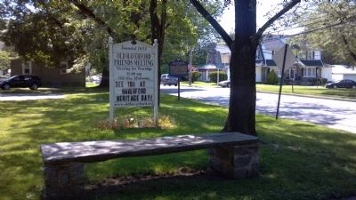 Stone bench & Old Haverford Friends Meeting Sign image. Click for full size.