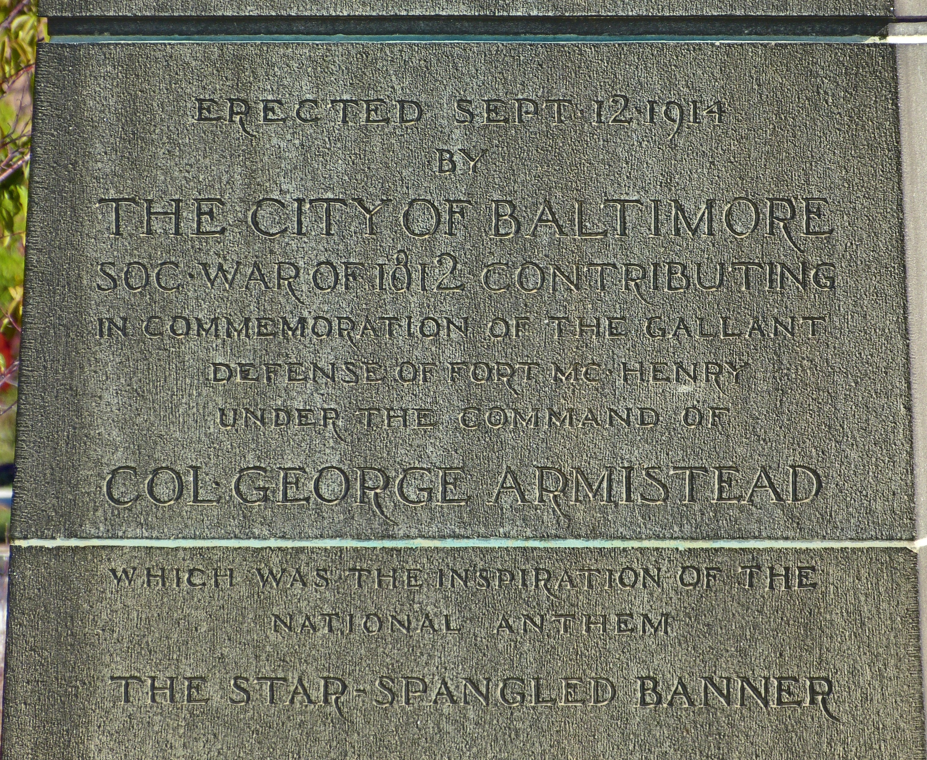 Erected Sept. 12 1914