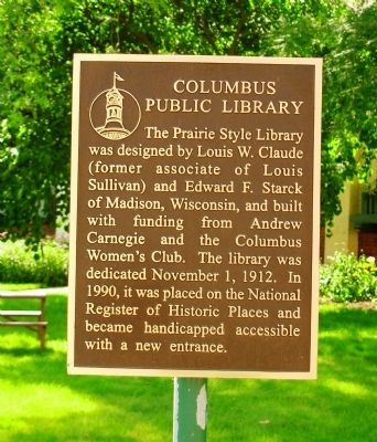Columbus Public Library Marker image. Click for full size.