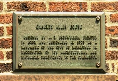 Charles Allis House Marker image. Click for full size.