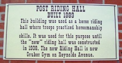 Post Riding Hall Marker image. Click for full size.