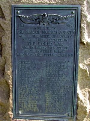 Branch County World War I Memorial Marker image. Click for full size.