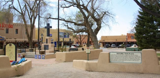 Historic Taos Plaza and Marker image. Click for full size.