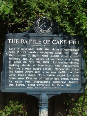 The Battle of Cane Hill Marker image. Click for full size.