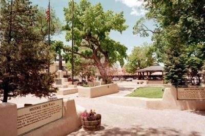 Historic Taos Plaza view in 2003- Marker in different location image. Click for full size.