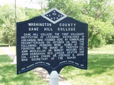 Washington County Cane Hill College Marker image. Click for full size.