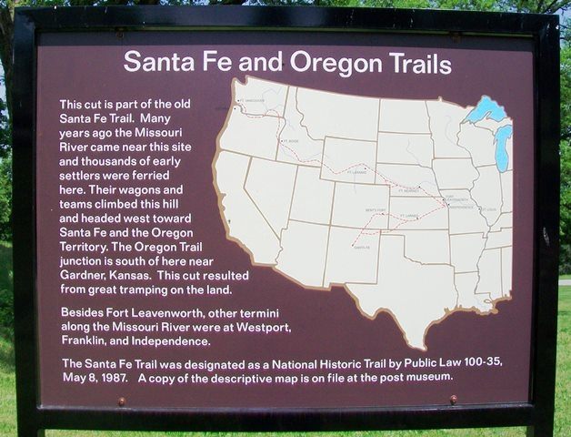 Santa Fe and Oregon Trails Marker