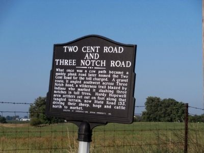 Side Two - Two Cent Road and Three Notch Road Marker image. Click for full size.
