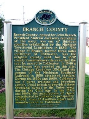 Branch County Marker image. Click for full size.