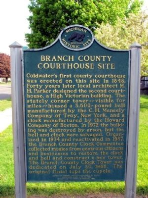 Branch County Courthouse Site Marker image. Click for full size.