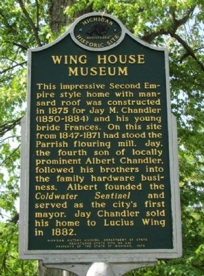 Wing House Museum Marker (Front) image. Click for full size.