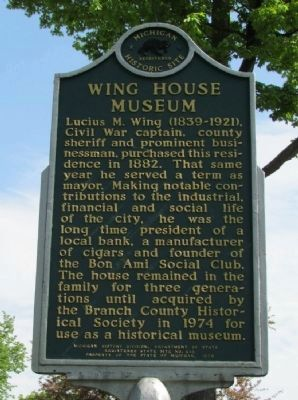 Wing House Museum Marker (Back) image. Click for full size.