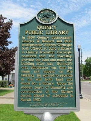 Quincy Public Library Marker (Front) image. Click for full size.