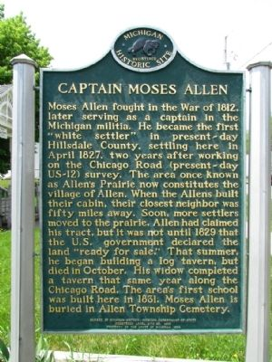 Captain Moses Allen Marker image. Click for full size.
