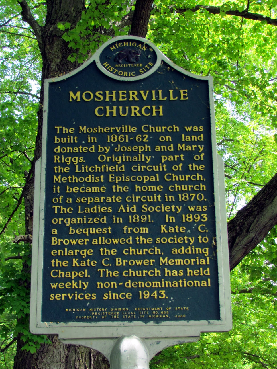 Mosherville Church Marker
