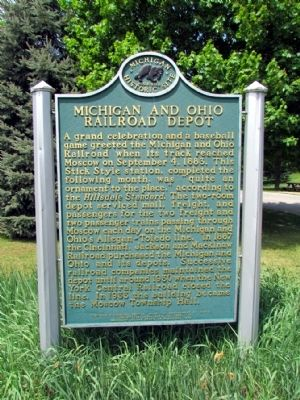 Michigan and Ohio Railroad Depot Marker image. Click for full size.