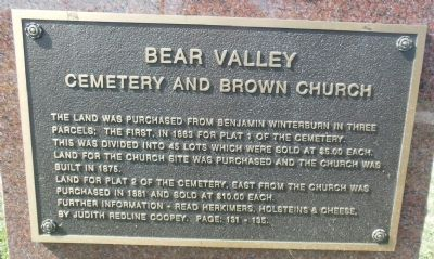 Bear Valley Cemetery and Brown Church Marker image. Click for full size.