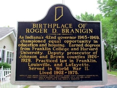 Birthplace of Roger D. Branigin Marker image. Click for full size.