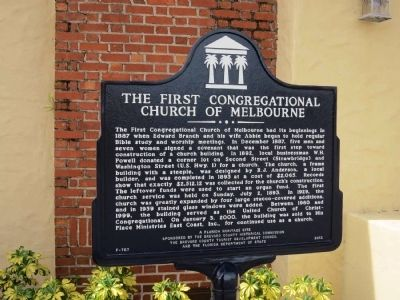 The First Congregational Church of Melbourne Marker image. Click for full size.