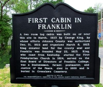 First Cabin in Franklin Marker image. Click for full size.