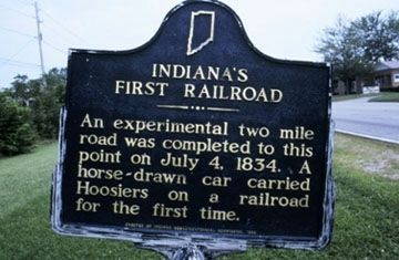 Indiana's First Railroad Marker image. Click for full size.